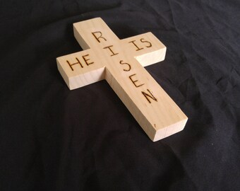 Easter Cross, Wood Cross, Easter Decor, Wood Burning Sign, He Is Risen Cross, Wall cross, Confirmation gift, Baptism gift, Memorial cross