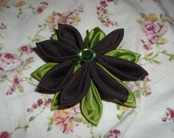 Handmade Brown and Bright Green Kanzashi Flower with Green Gem Center Hairpin