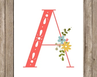 Floral monogram letter print.  The Letter A.  5x7 digital printable.