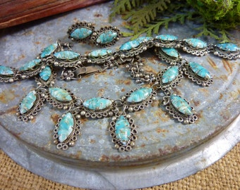 TURQUOISE color  STERLING  Mexican Taxco necklace, bracelet and earrings set