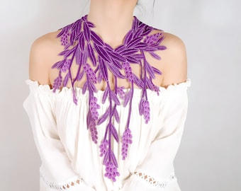 purple oversized lace statement necklace / embroidery lace gold long tassel floral bib necklace // lace collar accessory /gift for her