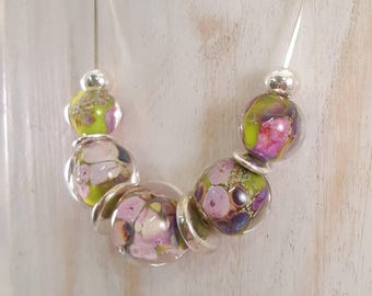 Lampwork Summer Garden Necklace -  Glass and Silver Necklace, Hand Made Necklace  SRAJD, FHF Y3