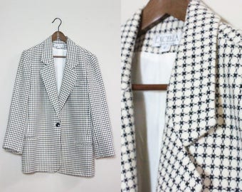 Vintage Black And White Checkerd Blazer Coat