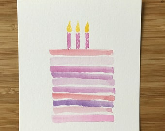 cake watercolor card | handmade