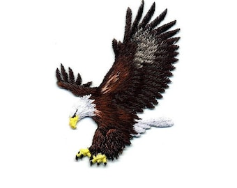 Eagle - Bird - American Eagle - Fully Embroidered Iron On Applique Patch - Left