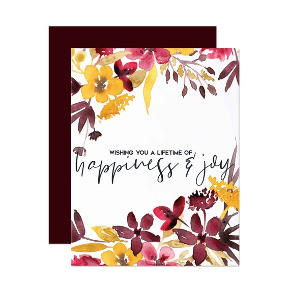 Burgundy & Yellow Floral Bridal Shower/Wedding Card - Happiness and Joy