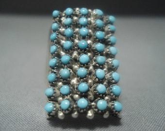 Stunning Vintage Zuni Turquoise Sterling Silver Ring- Huge!!