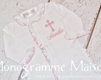 Baby Girl Christening Outfit - Baptism Outfit - Dedication Outfit - Monogrammed Baby Girl Outfit - Baby Girl Ruffled Footie - Pima Cotton