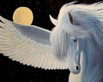 Pegasus Fantasy night time moon horse mythical counted cross stitch pattern PDF