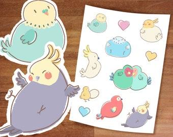 Stickers / Bird Stickers / Cute Stickers / Pet Bird / Cute Fat Birds / Sticker Set/ Sticker Sheet / Parakeet / Cockatiel / Lovebird / Parrot