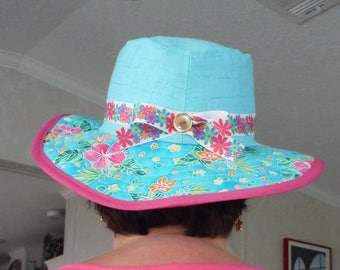 Tourquoise And Flowers Sunhat