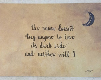 """Poem """"The Moon Doesn't Beg"""" by L.L. (llmusings) handwritten and signed on 5x7 paper"""