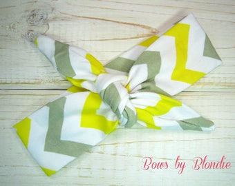 Knotted baby Headband in Gray and Yellow Chevron!