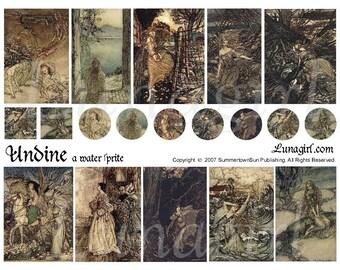 UNDINE fairy tale collage sheet DOWNLOAD Rackham art mermaid Victorian vintage images altered ephemera antique illustration fantasy