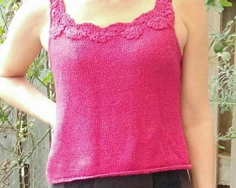 DIY Knitted Top with Crocheted  Straps Sizes S-M-L-XL