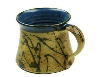 Ceramic cup effect blue speckled, just small