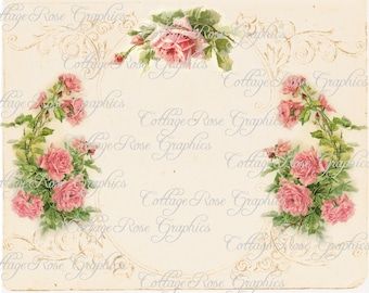 Vintage Paris French pink roses image Large digital download ADD your own text or background BUY 3 get one FREE