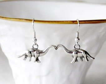 Dinosaur Earrings / Brontosaurus Earrings / Silver Dinosaur Earrings / Apatosaurus Earrings / D118