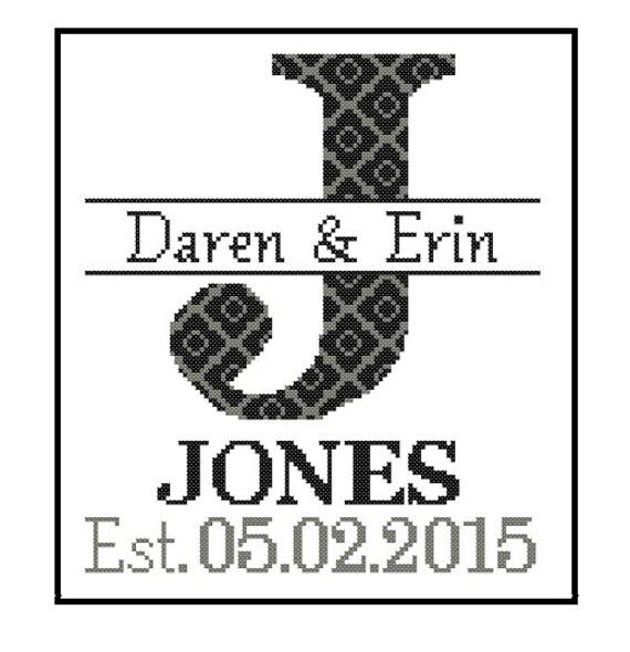 Modern wedding cross stitch Pattern Custom Monogram Cross