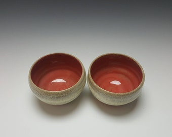 Set of red ice cream bowls by Potteryi.