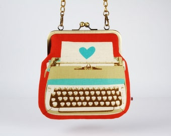 Metal frame handbag with shoulder strap - Typewriter in coral - Clutch bag / Melody Miller / Ruby Star shining / turquoise beige / retro