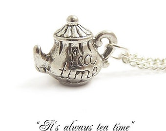 Tea Pot necklace It's always TEA TIME darling little Alice in wonderland necklace Mad Hatter