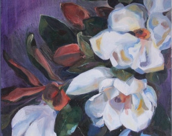 Magnolias - original oil painting on canvas, FLOWERS, SALE, free shipping, purple and white, big size, hand made,floral,realism