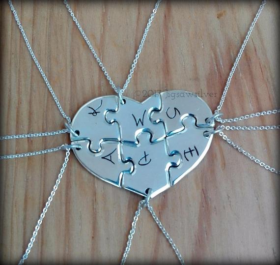 6 piece puzzle heart necklace. 6 best friend puzzle heart