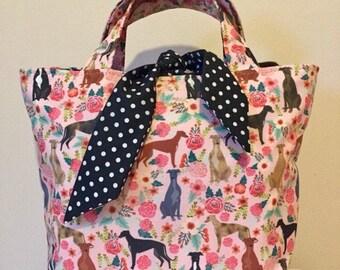 Greyhound dog print handbag