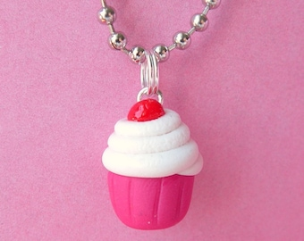 Classic Cherry Cream Cupcake Necklace