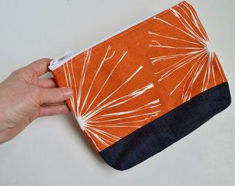 Pencil Case - Zipper Pouch - Cosmetic Bag - Orange Pouch -Teacher Gift - Gift for Mom - Purse Organizer - Orange Floral Pouch