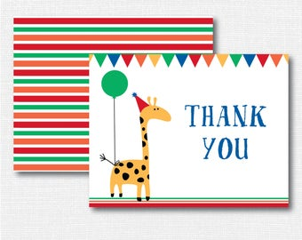 Zoo Animal Thank You Note - Girl Stationery - Animal Notecard - Folded Card - Thank You Note - INSTANT DOWNLOAD