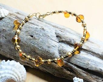 Honey Drops Glass Beaded Bracelet