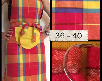 Reversible and Adjustable Cooking apron with motif of madras