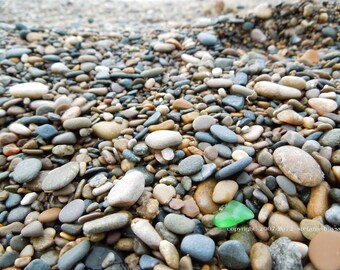 Lake Michigan Green Beach Glass 5 x 7 Matted Photo