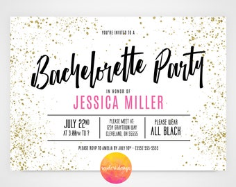 Bachelorette Party Invitation/ 5x7 Invite / Black, White, Pink and Gold (Gold effect) Bachelorette, Bride to Be, Ladies Night out**PRINTABLE
