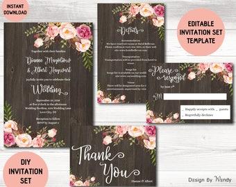 Editable wedding invitation template, boho flowers on wood rustic wedding invitation suite, boho wedding DIY invite set, printable invite