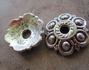 50 Antiqued Silver-Plated Pewter Bead Caps, 13x13mm Flower - JD5