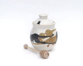 Honey Pot with Dipper - Calico Glaze