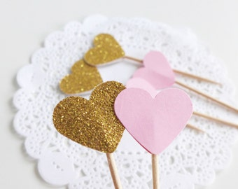 Pink and Gold Cupcake Toppers, Baby Shower Party Picks, Heart Toothpicks, Birthday Party Food Picks, Paper Hearts