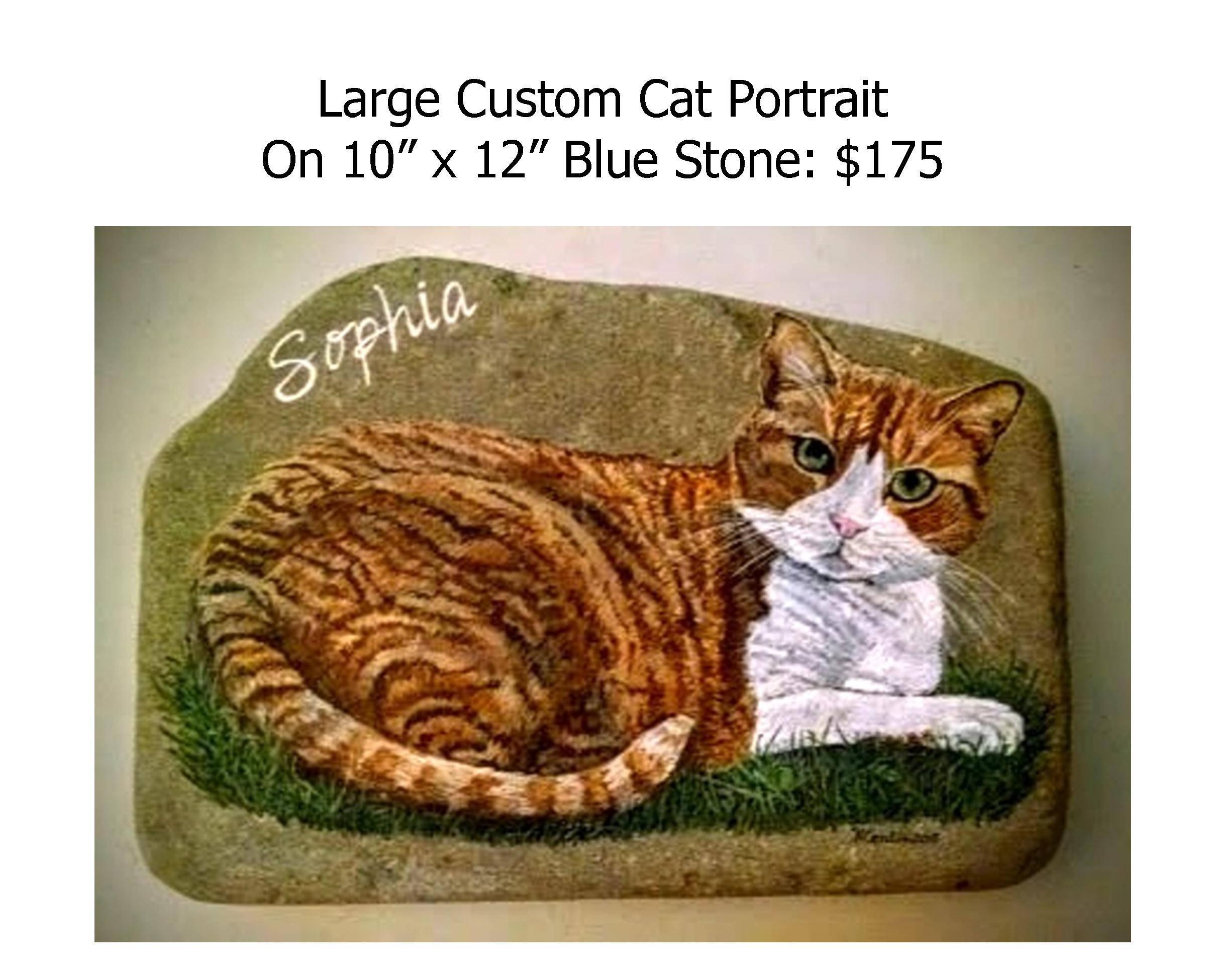 Hand Painted Rocks Pet Cat Portrait Memorial Large Cat