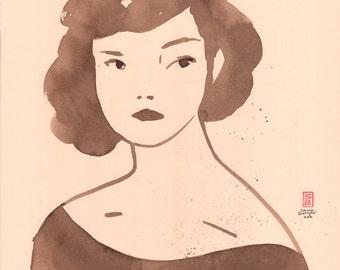 Girl 2 - original walnut ink painting on cream paper