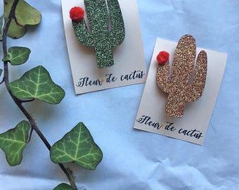 Cactus flower brooch