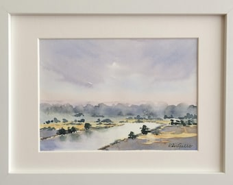 By the River, Framed Original Watercolour Painting