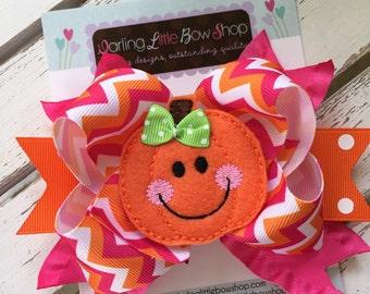 Pumpkin Bow -- Halloween Bow -- Hot Pink Pumpkin -- orange and hot pink chevron print ribbons with large pumpkin center -- optional headband