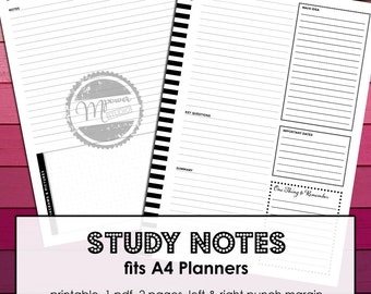 Student Planner A4 Filofax, discbound planner refill, pdf, A4 Planner. Academic planner, Cornell Notes, College, ring binder pages, ARC