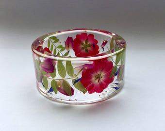 Red rose bangle,flower bangle,resin flower bangle,chunky bangle