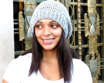 Crochet Slouchy Hat, Tam, Gray Hat, Ribbed,Women, Men, Teen, Tam,  Adult,,