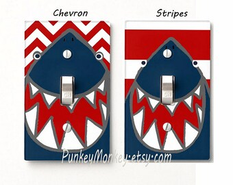 Shark lightswitch cover plate children's room decor ocean beach sharks bathroom chevron striped stripes