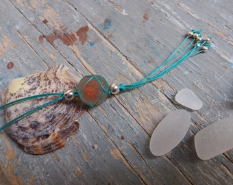 Orange Seaglass Marble Fishnet & Silver Necklace